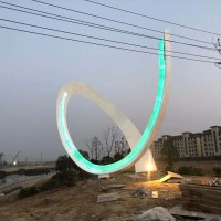 江苏城市住宅区灯光抽象雕塑 不锈钢产品定制工厂
