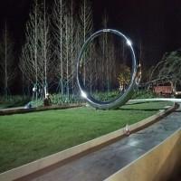浙江绿化带锻造圆环雕塑 不锈钢镜面圆摆件